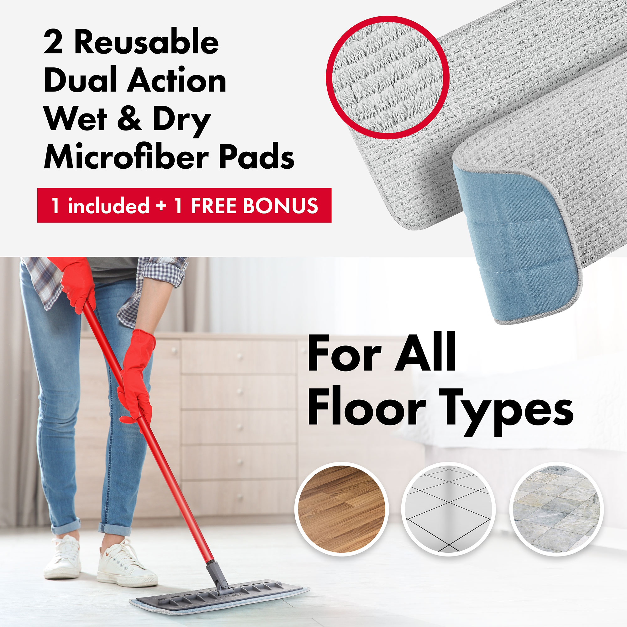 Tyroler Bright Tools Microfiber Mop Wet and Dry Pad