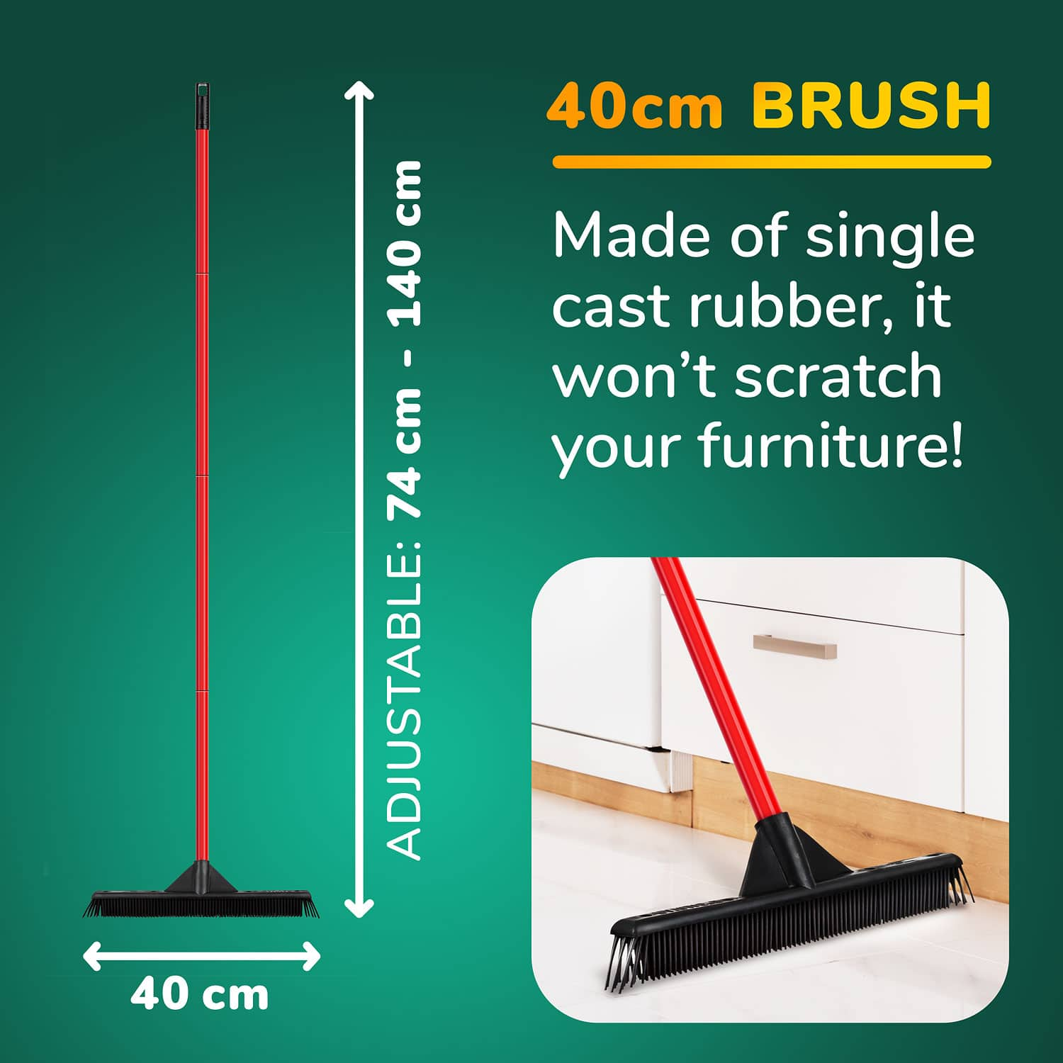 Light Weight Rav-Mag Rubber Broom & Squeegee