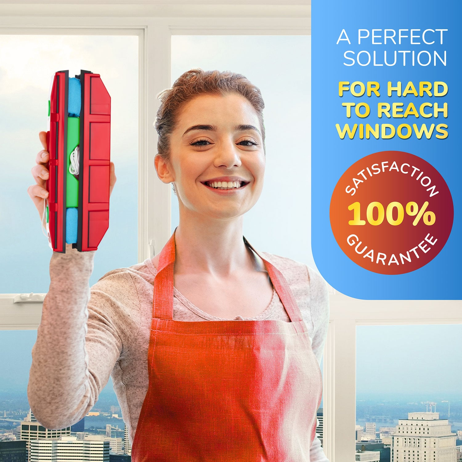 The Glider D-3, Magnetic Window Cleaner, for Double Glazed windows, Fit to 0.8″-1.1″/ 20-28 mm windows thickness