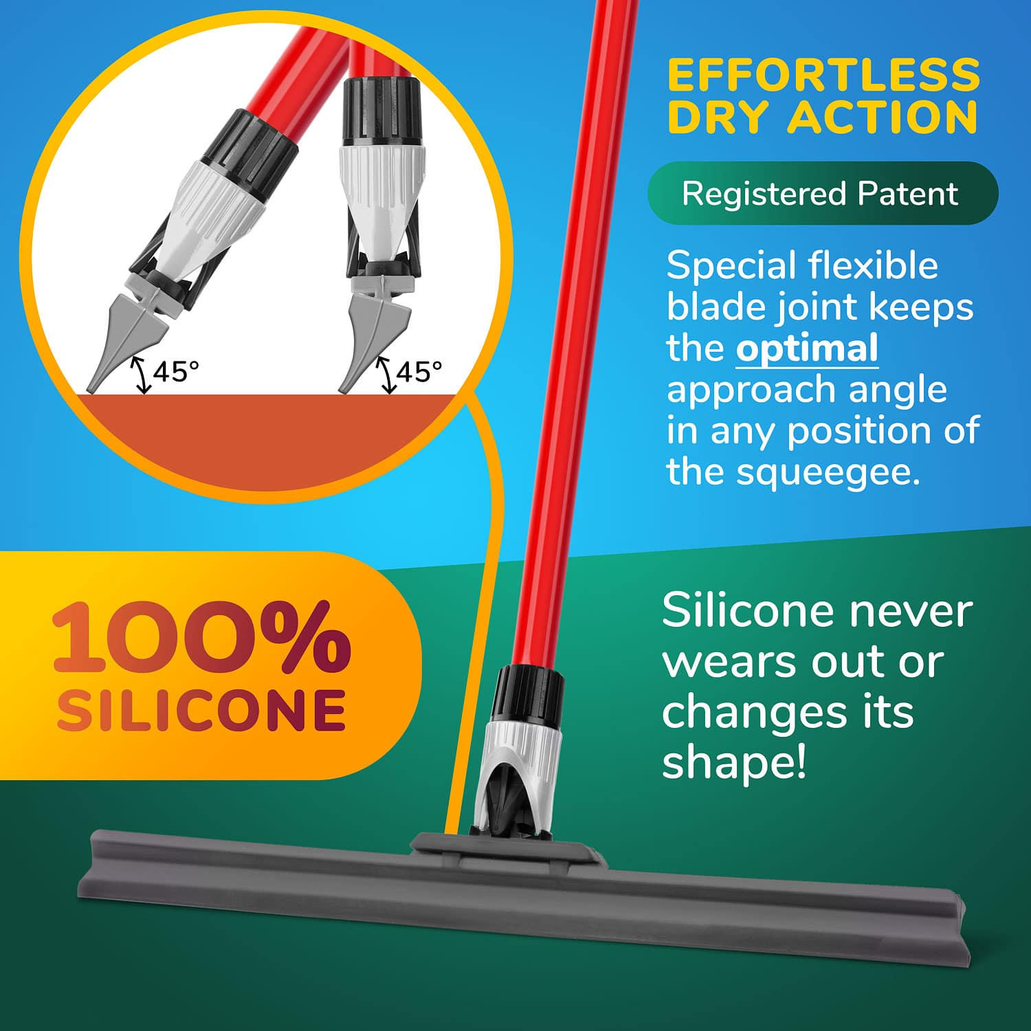 Silicone knuckle Joint Squeegee 45