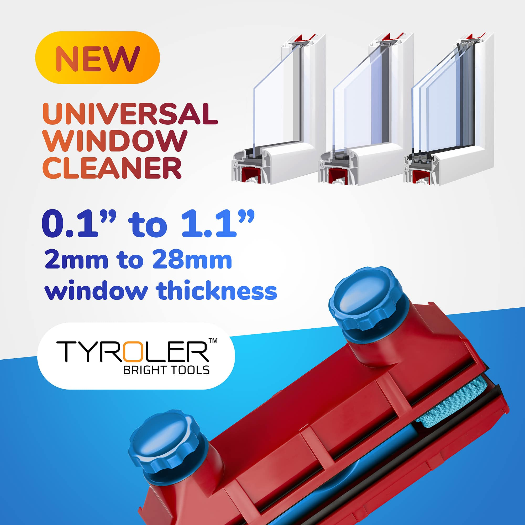 Magnetic window cleaner for double glazed windows